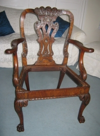 Queen Anne period walnut armchair